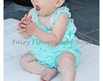 Aqua Lace Pettiromper with Matching Headband  (Infant, Toddler)  Photo Prop