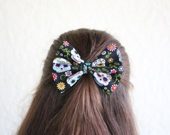 Hair Bow Day of the Dead Sugar Skulls Hair Bow Clip Rockabilly Pin up Teen Woman Alligator Clip, French Barrette
