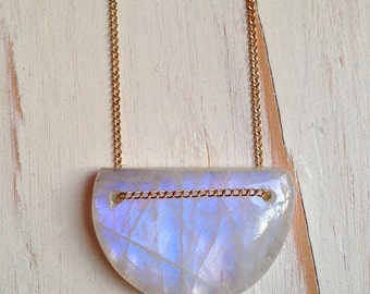 Moonstone Necklace Moonstone Geometric Necklace Moonstone Jewelry Gemstone Jewelry