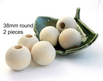 X Large Round Unfinished Wood Beads - 38mm - 2 pieces