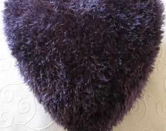 Gorgeous fluffy purple heart cushion.