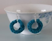 Teal Knitted Earrings - Green Blue Silver Plated Cotton Hoop Earrings Colourful Jewellery Gift for Her by Emma Dickie Design