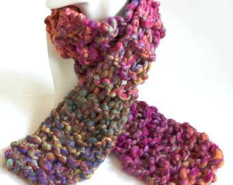 CLEARANCE - Rainbow Scarf Chunky Knit Bulky Wool Pink Orange Purple Scarf Sale by Emma Dickie Design