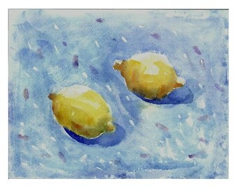 still life Lemons original painting watercolor summer blue yellow OOAK