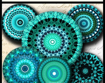 INSTANT DOWNLOAD Turquoise Mandalas (706) 4x6 and 8.5x11 ( 30mm ) Digital Collage Sheet glass tiles cabochon pendants images