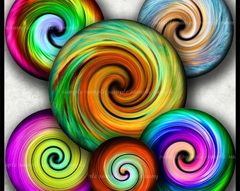 INSTANT DOWNLOAD Rainbow Spiral (739) 4x6 1 inch round Bottle Cap Images Printable Digital Collage Sheet glass tile bows cabochon images