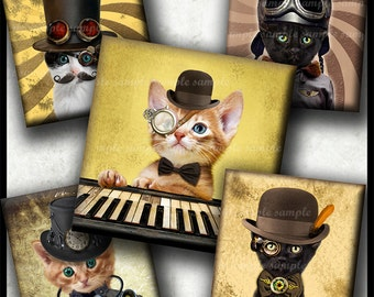 INSTANT DOWNLOAD Steampunk Cat (752) 4x6 Printable Digital Collage Sheet 1 inch square images glass tiles resin pendants cabochon images