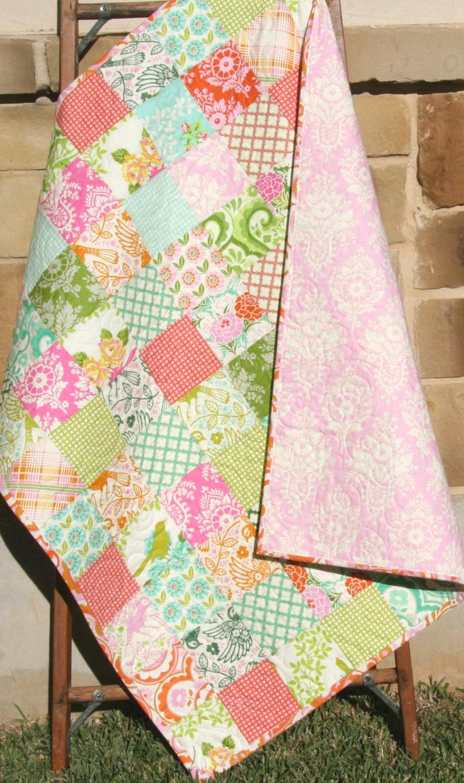 Baby Quilt Girl Patchwork Pink Aqua Blue Blanket Nursery