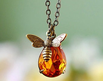 Bee and Honey Necklace. Antiqued Brass Bee Teardrop Topaz Glass Pendant Necklace, Bee lover Necklace, Bee keeper Necklace, Bee Jewelry