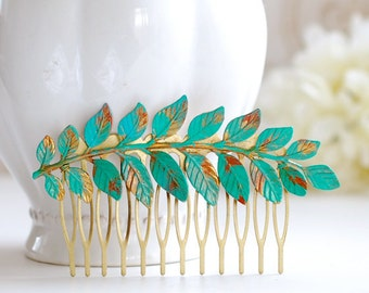 Leaf Hair Comb Verdigris Leaf Teal Blue Patina Brass Leaf Branch Hair Comb Woodland Hair Accessory Bohemian Style