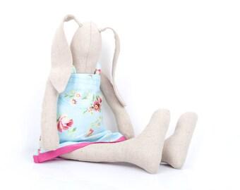 Crib Nursery Decor , Easter bunny , cloth stuffed linen doll , Bunny softie , toddler gift , new baby gift , flower girl gift , cute doll