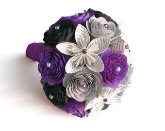 Edgar Allan Poe's The Raven Wedding Bouquet, Gothic Wedding, Gothic Bouquet, Purple and Black Bouquet, Halloween Wedding