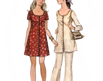 Butterick 5591 Vintage 70s Junior Petite and Misses' Mini Dress or Tunic and Pants Sewing Pattern - Uncut - Sizes 7JP  - Bust 32