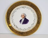 Vintage George Washington Plate 22K Gold Capsco Product Capital Kitsch Washington DC Collectibles