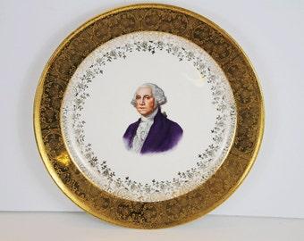 Vintage George Washington Plate 22K Gold Capsco Product Capital Kitsch Washington DC Collectibles