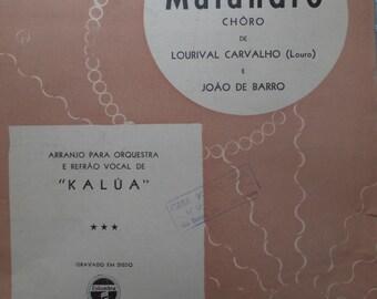 1940's Urubu' Malandro Choro Lourival Carvalho Joao de Barro Portuguese Song Book Sheet Music