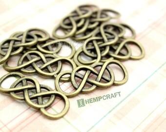 Double Infinity Connectors, 10pc Bronze Infinity Bracelet Connector, 32mm