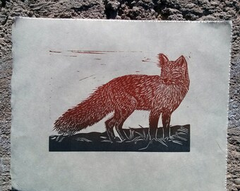 Foxy! Hand pulled Linocut of the Day