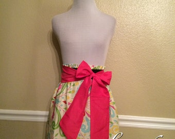 Vintage Floral Pink Yellow Blue Spring Easter Handmade Elastic Waist Skirt with Bright Pink or your choice Sash Bow - Small 2 4