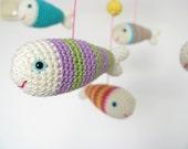 Crochet Mobile, Amigurumi Baby Mobile, Fish Mobile, Crib Mobile, Nursery Mobile, Baby Girl Mobile, Colorful Mobile