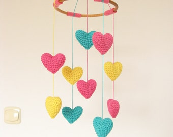 Bright Colorful Baby Mobile, Heart Nursery Mobile, Crib Heart Mobile, Baby Shower Gift for Girls, Heart Chandelier
