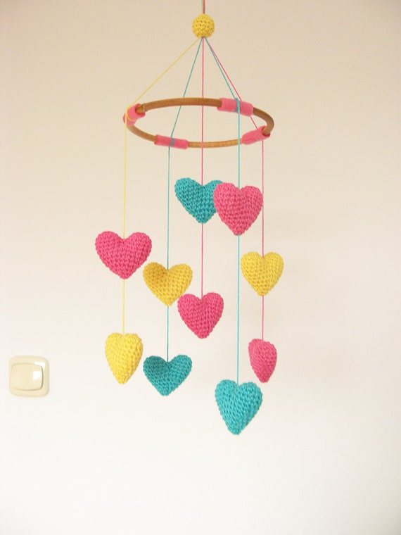 bright colorful baby mobile heart nursery mobile crib heart