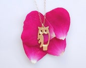 SALE Owl Necklace in Gold