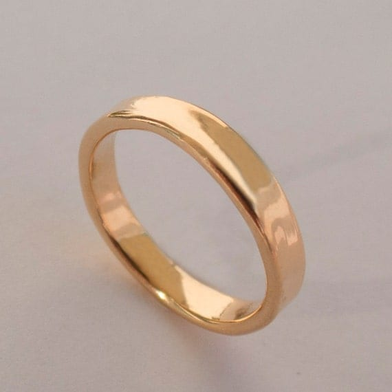 Simple Gold Wedding Band 14k Rose Gold Ring Uni Ring Rose Gold Weddi