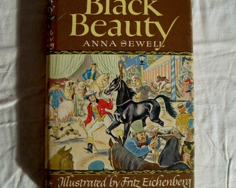 Black Beauty Hardcover Book with Colorplates Paper Cover Anna Sewell 1976 copy of 1945 Version