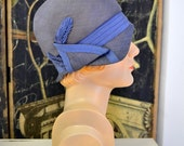 1920s Gage Brothers Blue Straw Cloche Hat
