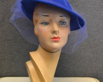 1980s Blue Felt Hat with Tulle