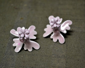 1960s Pink Flower Enamel Clip Earrings