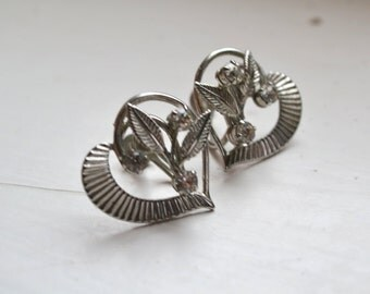 1950s Silver Heart and Rhinestone Screw Back Earrings