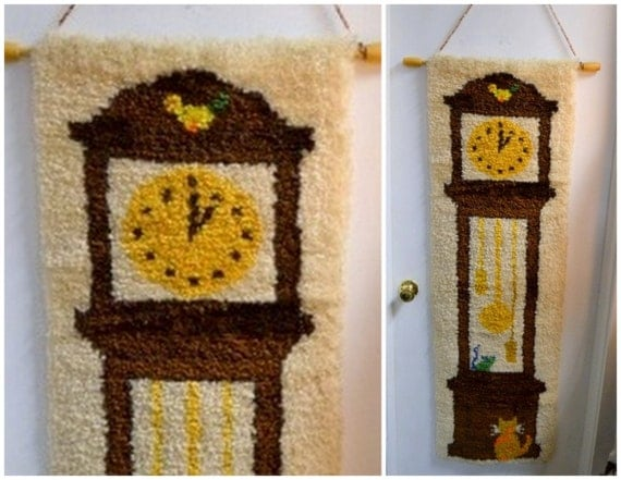 Items similar to 1970s grandfather clock latch hook wall hanging on etsy - Wall hanging grandfather clock ...