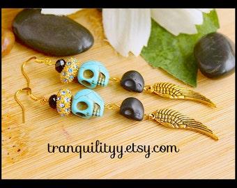 Skull Swarovski Earrings Elegant Unique Rhinestone Swarovski Crystal Earrings , Valentine Day Gift ,By: Tranquilityy
