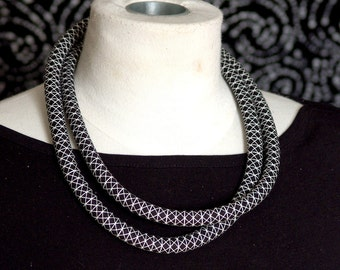 Black and White Geometric Fabric Double Loop Rope Necklace