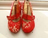 US 10 / Euro 40.5 / UK 8.5, Red Silk Slippers #560
