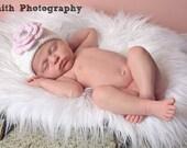 Crochet Girls Hat - Baby Hat - Winter Hat - Newborn Hat - Spring Hat - White Hat Pink Flower with Rhinestone - in sizes Newborn to 3 Years