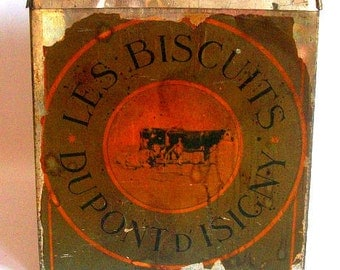 Vintage French Biscuit Tin from Dupont D'Isigny in Normandy, France