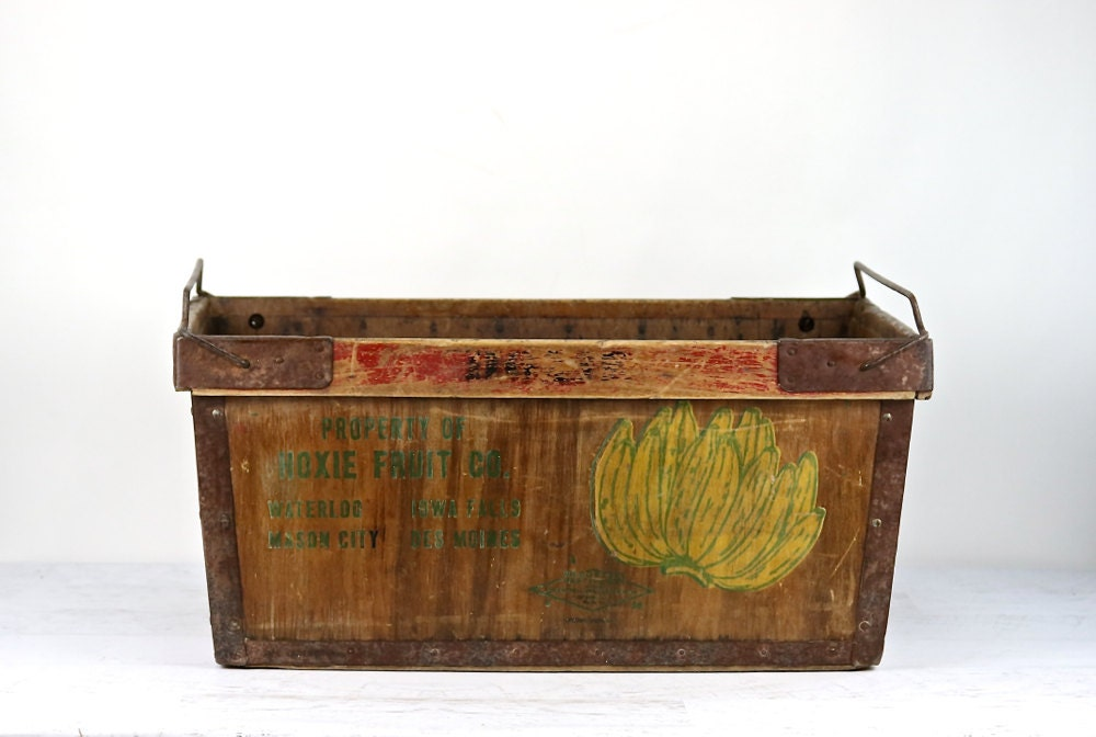 banana crate banana box vintage banana wood crate