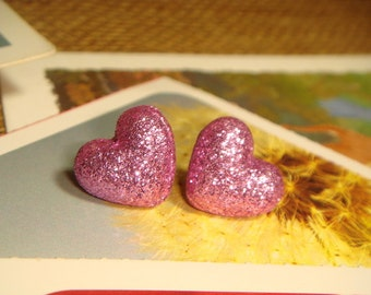 Glitter Pink Lavender Heart Shaped Fabric Covered Button Stud/Post Earrings (E263)