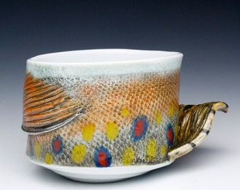 New Large Hand made Trout Mug with Fish Fin Handle  (Brook Trout) One of a Kind Fishing Cup Japan