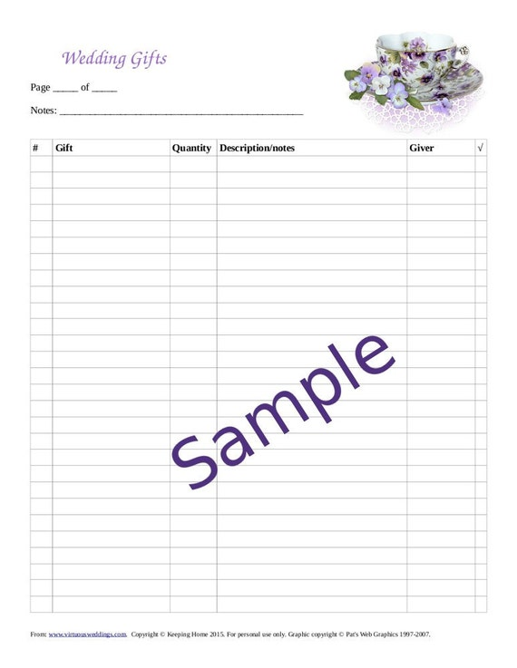 bridal shower gift record template - 28 images - wedding gift log ...