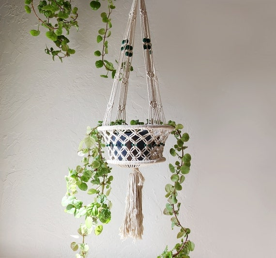 macrame patterns hanging basket macrame plant hanger or fruit basket by meadowandmark on etsy 1677
