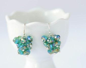 sterling silver beaded cluster dangle earrings, turquoise glass beaded earrings