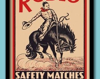 Vintage Matchbox Label Print .  Rodeo Cowboy Large A2 ( 40 X 60 cm) Poster