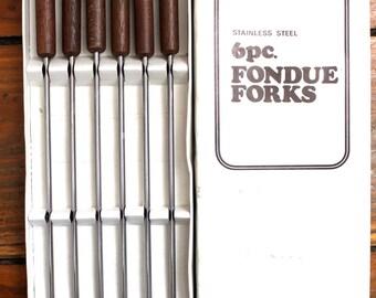 Party Time... Vintage Fondue Forks Set of 6 in Box, Vintage Kitchen
