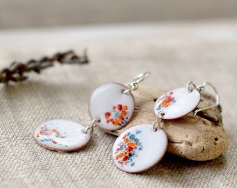 Long dangle earrings - white multicolor earrings - copper sterling silver - artisan jewelry by Alery
