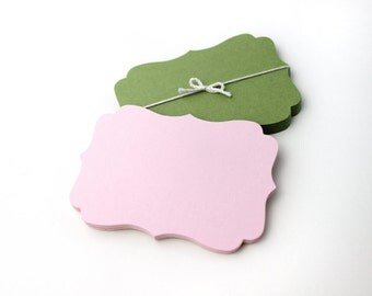 "30 Bracket Note Cards, 3.5"" x 2.5"", blank die-cut flat wedding place cards, hang tag, gift tags, earring card"