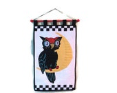 Quilted Vintage Style Owl Wall Hanging
